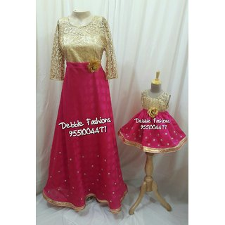 8930d17eee Buy Pink Gold Mom N Daughter Combo Gowns Online @ ₹5800 from ShopClues
