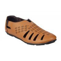 Leather Park Men's Tan Slip On Sandals