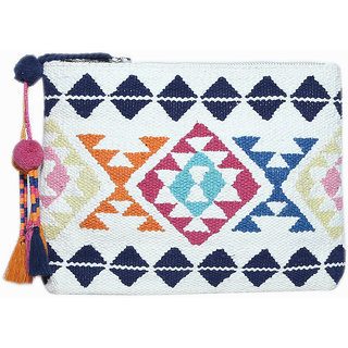 Diwaah Beautifully Handcrafted Casual Cotton Multi Color Zip Top Clutch With Zip (DWH000000789)