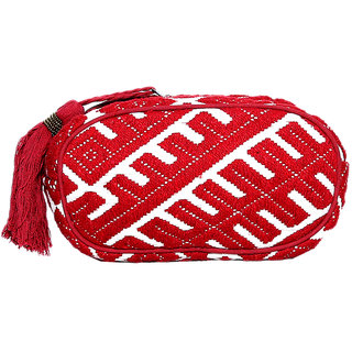 Diwaah Beautifully Handcrafted Casual Cotton Red Color Utility Bag With Zip (DWH000000810)