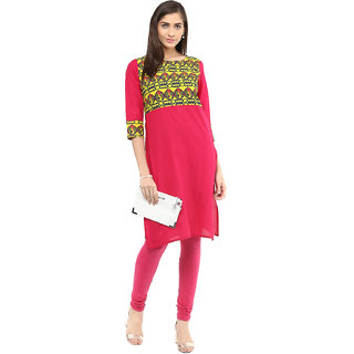 Rangeelo Rajasthan Printed Women's Short Straight Cotton Kurta(RR021PINK)