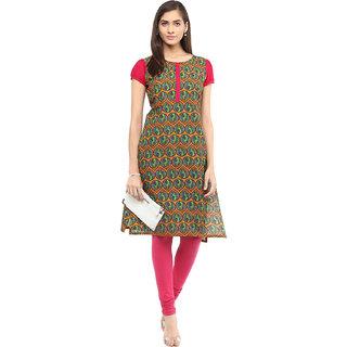 Rangeelo Rajasthan Printed Women's Short Straight Cotton Kurta(RR023PINK)