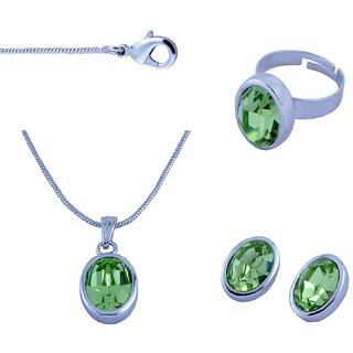 Trisha Jewels Alloy Silver Rhodium Plated Pendant With Chain & Earrings