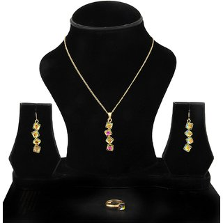 Trisha Jewels Alloy Gold Gold Plated Pendant With Chain & Earrings