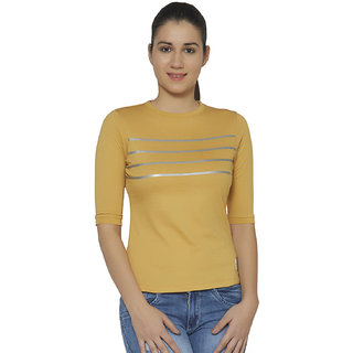 Cult Fiction Yellow Striped Round Neck Tshirt
