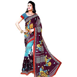 Star Fashion Multicolor Bordered Poly Cotton Saree with Blouse