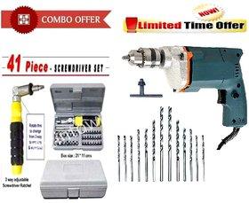 Tiger Combo Of 10 mm Drill Machine +13 Drill Bit Set + 41Pcs Tool kit Set