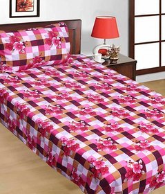 Delicieux SNS FLORAL CHECKERED POLY COTTON SINGLE BED SHEET WITH