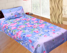 SNS MULTICOLOR FLORAL POLY COTTON SINGLE BED SHEET WITH