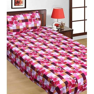 SNS FLORAL CHECKERED POLY COTTON SINGLE BED SHEET WITH 1 PILLOW COVER