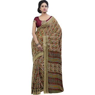 Sareemall Beige Art Silk Printed Saree With Blouse