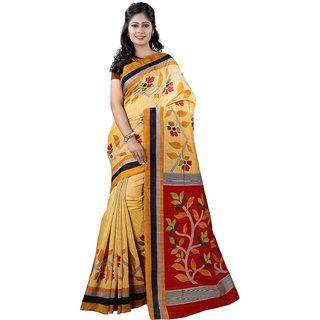 Sareemall Gold Bhagalpuri Silk Printed Saree With Blouse