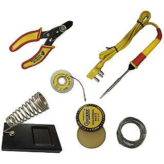 6 in1 Electric Soldering Iron Stand Tool Wire Stripper Kit 25 Watt Welding Stick Set