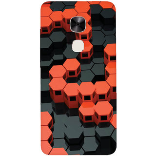 GripIt 3D Red & Black Hexagons Printed Casefor LeEco Le Max 2