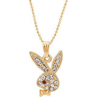 Shining Jewel Gold Plated Playboy Rabbit Pendant with Chain  Crystals (SJ2141)