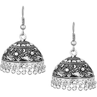 Shining Jewel Anique Silver  Medium Traditional Hook Jhumki Earrings with Pearl Hangings (SJ_435)