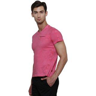 627558f77920 Buy LE Bourgeois Pink V-Neck Half Sleeve T-Shirt for Men's Online ...