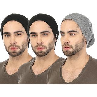 Grabberry Men s Black Grey Color Grabiel Cotton Cap for Men with Ring  insert Pack of 3 pcs 85ed0c85b8ff