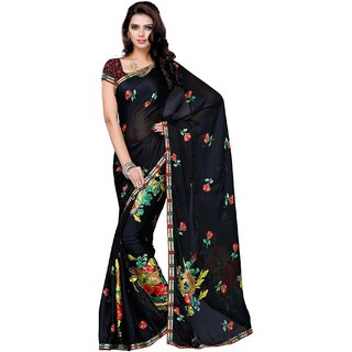 Beauty N Women Black Satin Saree