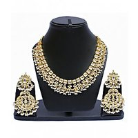 White Designer Partywear Kundan necklace set
