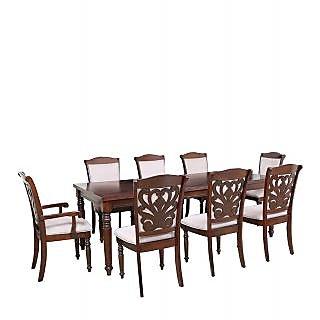 Harshita Handicrafts Carved chair royal 8 seater sheesham wood dinihng set