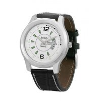 Howdy Smart Analog White Dial Watch With Black Leather Strap With Day And Date - For Men's  Boys Ss551