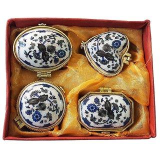 Porcelain Dark Blue Flower Different Shape Kumkum/Sindoor Box Set