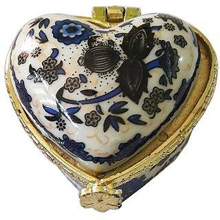 Porcelain Dark Blue Flower Heart Shape Kumkum/Sindoor Box