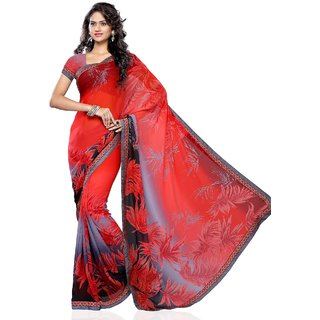 Beauty N Women Red Georgette Saree