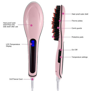 906 Fast Hot Hair Straightener Comb Brush Lcd Screen Flat Iron Styling + FREE HANDSFREE 1 SPONGE  1 LIP LINER