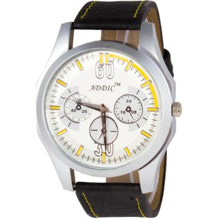 Addic Solid Analog White Color Dial Analog Men Watch