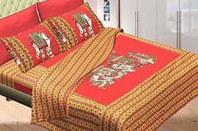 PG Creations cotton bed sheet Multicolour