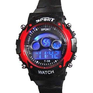 Fashion Carnival Round Black Rubber Digital Watch Ideal For Boy & Girl