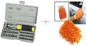 Buy 2 Pcs Micrifiver Hand Gloves With Free 41 Pcs Toolkit Screwdriver Set - 41FBR2