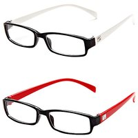 MagJons Red  White Rectangle Unisex Eyeglasses Frame - Combo of 2