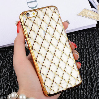 Diamond Lattice Golden Chrome TPU Cover for Reliance Jio LYF Flame 1