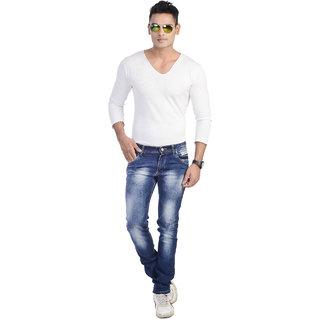 5EM Blue Cotton Blend Slim Fit Denim Jeans