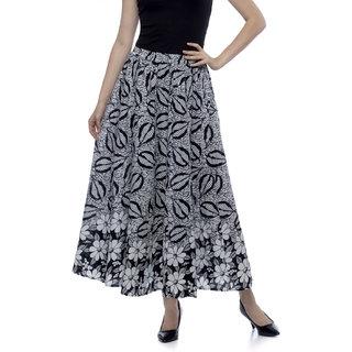 One Femme Women's Cotton Monochrome Printed Long Skirt