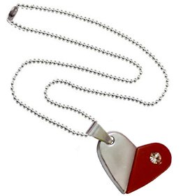 Men Style  Rotational  Two Colour Twice Style Heart Or Bullet  Red And Silver  Stainless Steel Heart Necklace Pendent For Men And Women
