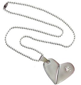 Men Style  Rotational  Two Colour Twice Style Heart Or Bullet  Silver  Stainless Steel Heart Necklace Pendent For Men And Women