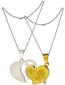 Men Style I Think Love With Flowers  Gold And Silver  Stainless Steel Flowers Necklace Pendent For Men And Boys