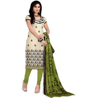 Trendz Apparels Cream Printed Unstitched Dress Material 5AKS9001