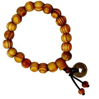 Men Style  Buddha Buddhist Prayer Beads Tibet Mala With feng shui coin Wrist  Yellow  Wood Round Bracelet For Men And Women