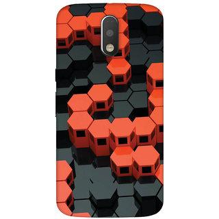GripIt 3D Red & Black Hexagons Case for Motorola Moto G4 Plus