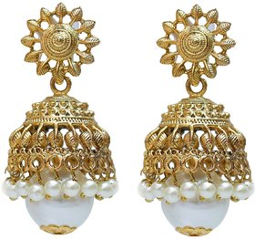 White Designer Partywear Jhumki