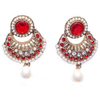Crazytowear 22K yellow Gold Plated Red  Crystal Alloy Drop Earring