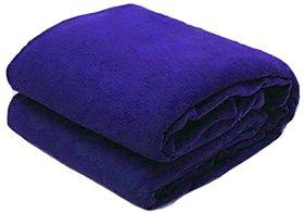 SNS AC Double Bed Blue Fleece Solid Blanket