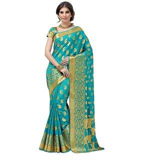 Sachi Gold & Green Raw Silk Self Design Saree With Blouse