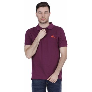 Madras Khaki Purple Round Neck Half Sleeve Tshirt For Men