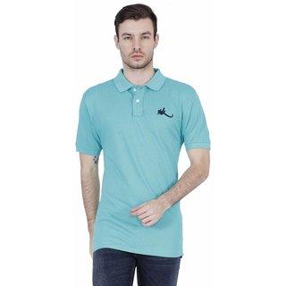 Madras Khaki Green Round Neck Half Sleeve Tshirt For Men